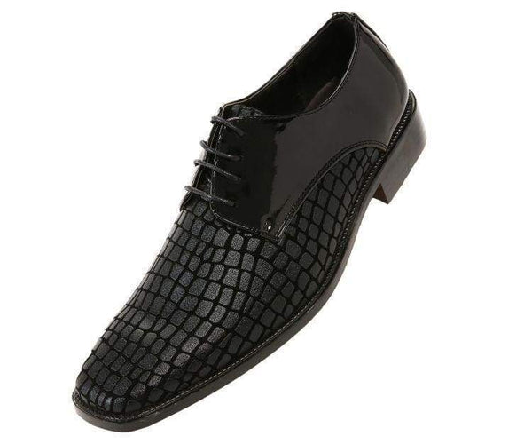 Duncan Croco Printed Exotic Formal Oxford Dress Shoes Derby Black / 10