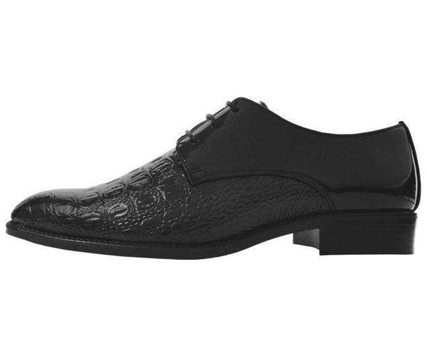 Simpson Crocodile Printed Patent Oxford Lace Up