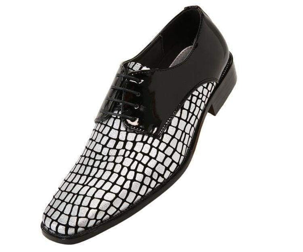 Duncan Croco Printed Exotic Formal Oxford Dress Shoes Derby Black/silver / 10