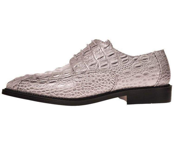 Darby Grey 3D Crocodile Printed Oxford Derby Dress Shoe Lace Up