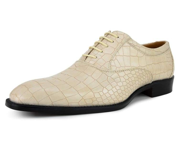 Bolano Men's Exotic Faux Croco Skin Solid Color Lace Up Oxford Dress Shoe, Style Gomek