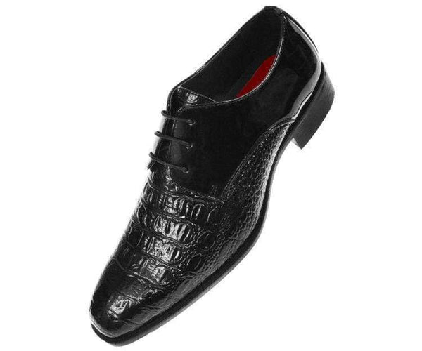 Simpson Crocodile Printed Patent Oxford Lace Up Black / 10