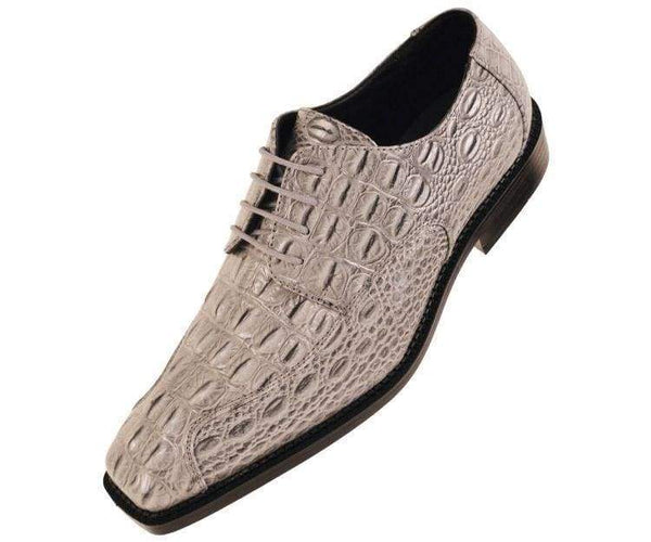 Darby Grey 3D Crocodile Printed Oxford Derby Dress Shoe Lace Up Grey / 10