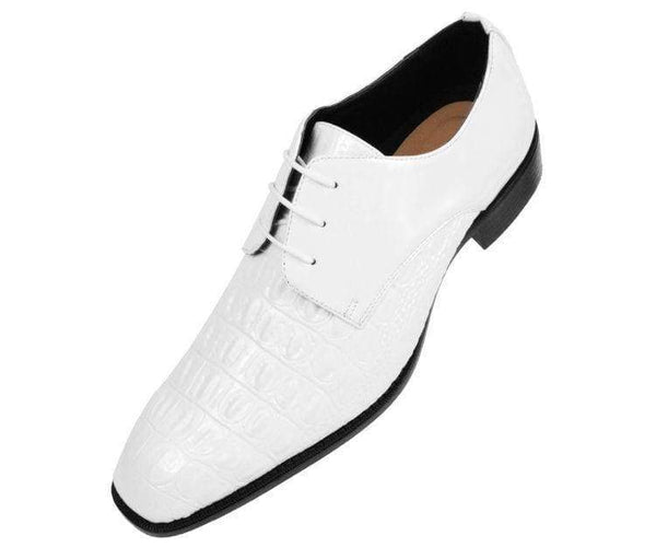Simpson Crocodile Printed Patent Oxford Lace Up White / 10
