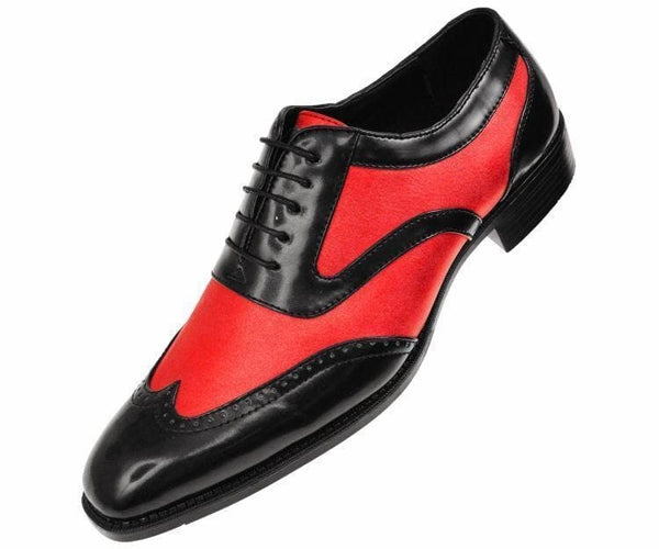 Lawson Two-Tone Metallic Black Smooth Lace Up Oxford Dress Shoe Oxfords Red / 10.5