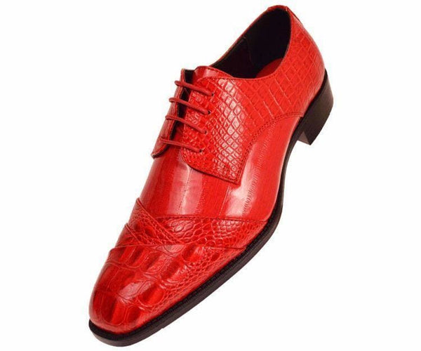 Bandits Exotic Eel Skin Print Cap Toe Oxford Dress Shoes Derby Red / 10