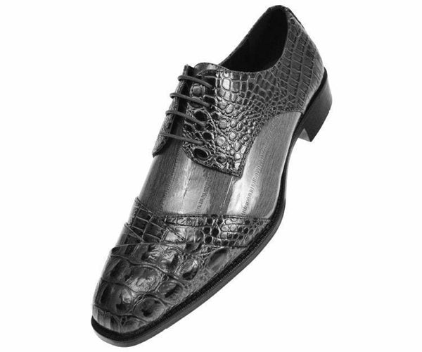 Bandits Exotic Eel Skin Print Cap Toe Oxford Dress Shoes Derby Grey / 10