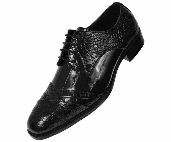 Bandits Exotic Eel Skin Print Cap Toe Oxford Dress Shoes Derby Black / 10