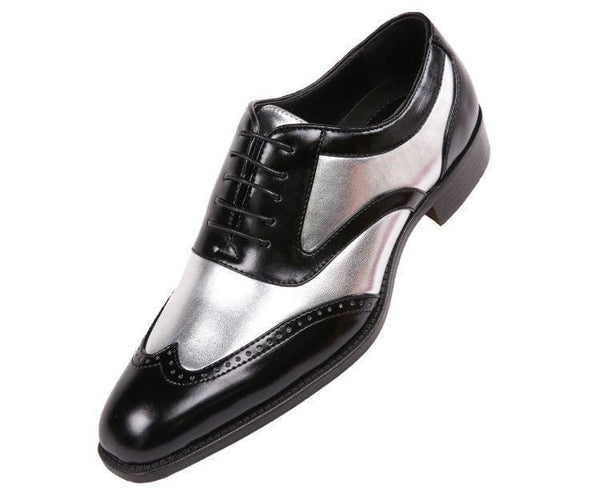 Lawson Two-Tone Metallic Black Smooth Lace Up Oxford Dress Shoe Oxfords Silver / 10