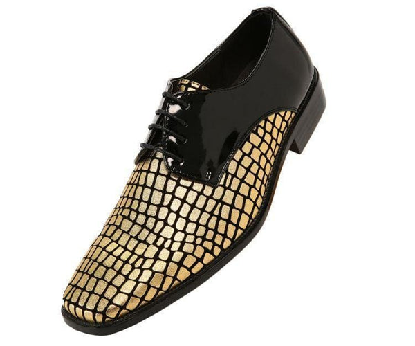 Duncan Croco Printed Exotic Formal Oxford Dress Shoes Derby Black/gold / 10