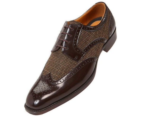 Keller Colored Twill And Smooth Wingtip Derby Dress Shoe Derby Brown / 10