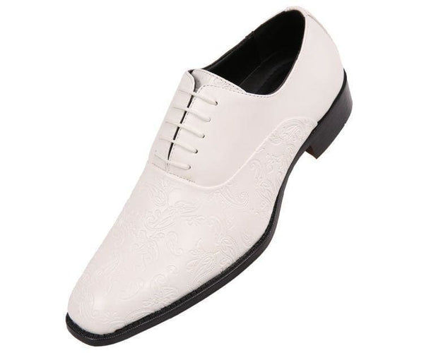 Peter Paisley Embossed Plain Toe Oxford Dress Oxfords White / 10
