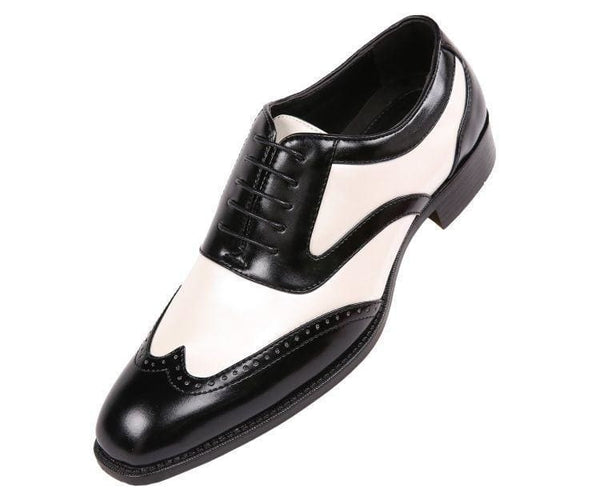 Lawson Two-Tone Metallic Black Smooth Lace Up Oxford Dress Shoe Oxfords Pearl / 10
