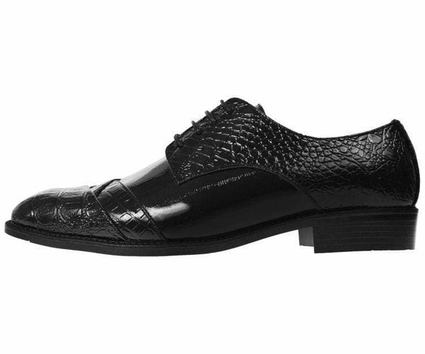 Bandits Exotic Eel Skin Print Cap Toe Oxford Dress Shoes Derby