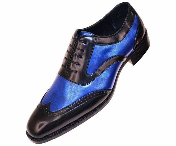 Lawson Two-Tone Metallic Black Smooth Lace Up Oxford Dress Shoe Oxfords Royal Blue / 10