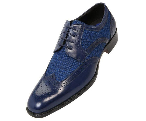 Keller Colored Twill And Smooth Wingtip Derby Dress Shoe Derby Navy Blue / 10