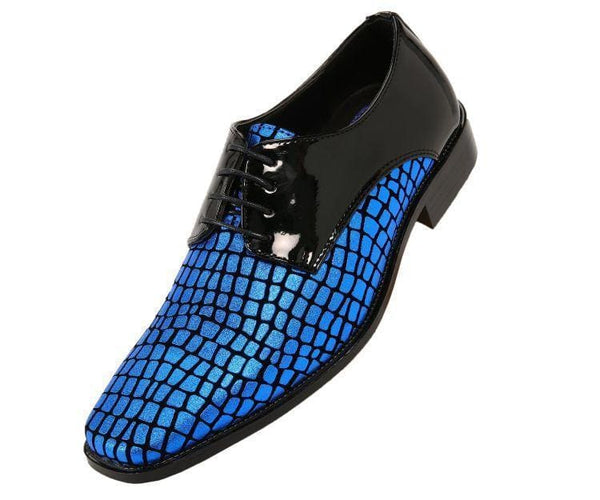 Duncan Croco Printed Exotic Formal Oxford Dress Shoes Derby Black/royal Blue / 10