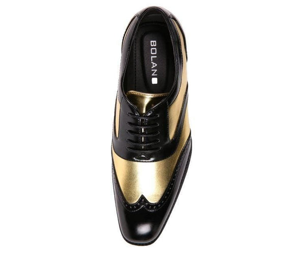 Lawson Two-Tone Metallic Black Smooth Lace Up Oxford Dress Shoe Oxfords