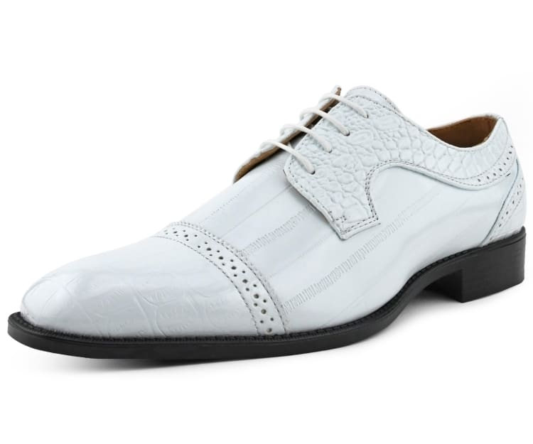 Style Phil Bolano Mens Classic Two Tone Smooth Wingtip Oxford Spectator Dress Shoe