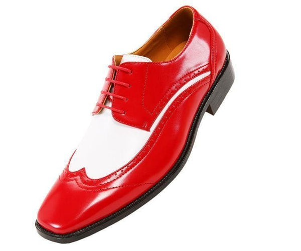 P1056 Two-Tone Smooth Wingtip Derby Derbs Red / 10