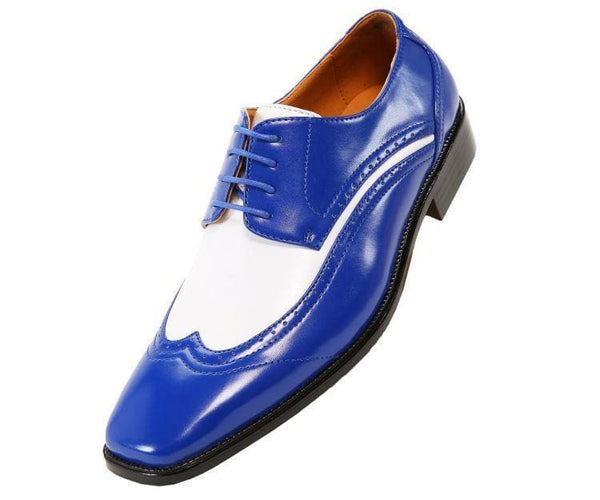 P1056 Two-Tone Smooth Wingtip Derby Derbs Royal Blue / 10