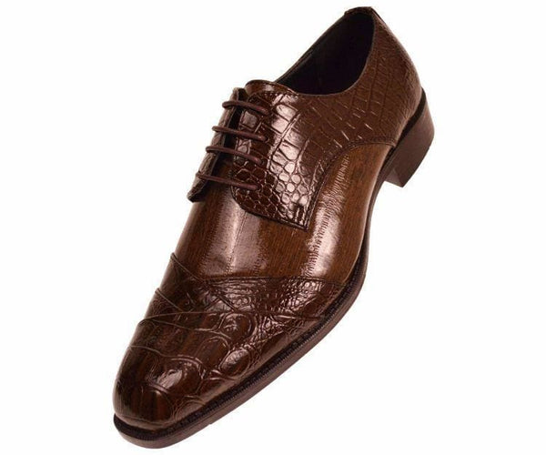 Bandits Exotic Eel Skin Print Cap Toe Oxford Dress Shoes Derby Brown / 10