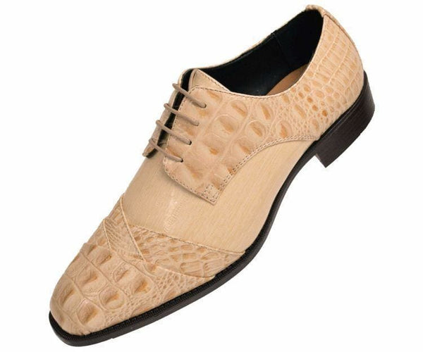 Bandits Exotic Eel Skin Print Cap Toe Oxford Dress Shoes Derby Champagne / 10