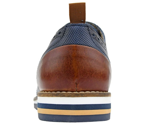 COXX BORBA Genuine Leather Two Tone Casual Wing Tip Dress Sneaker Hand Crafted in Portugal