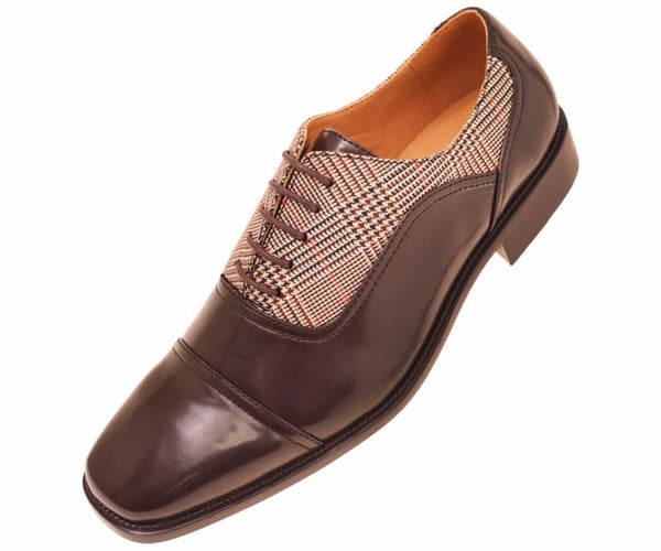 Kain Mens Glen Plaid And Brown Smooth Cap Toe Dress Oxford Lace Up Brown / 10