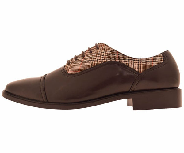 Kain Mens Glen Plaid And Brown Smooth Cap Toe Dress Oxford Lace Up