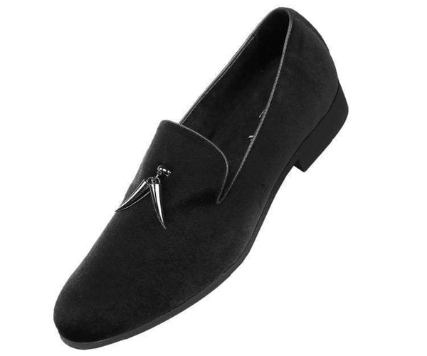 Heath Velvet Smoking Slipper With Metal Horn Tassel Smoking Slippers Black / 10