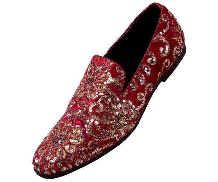 Amali Mens Casual Embroidery Loafer Slip On Dress shoes Comfort Driving Moccasin