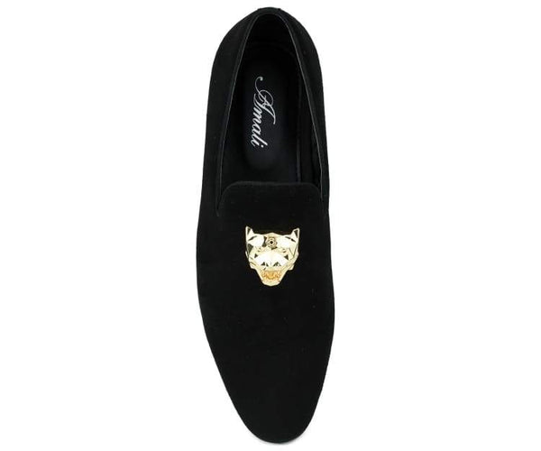 Amali Men's Velvet Loafer Smoking Slipper with Faux Gold Panther Bit Dress Shoe, Style Rion