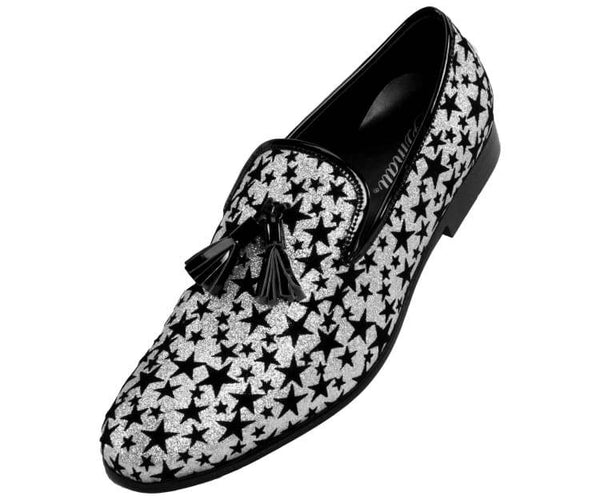Amali Men's Sequin Embroidered Plush Velvet and Glitter Smoking Slippers, Comfortable Slip On Smoking Shoes