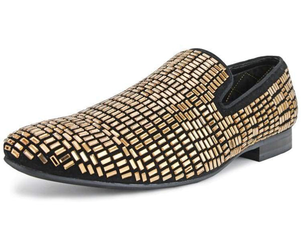 Amali Men's Faux Velvet Smoking Slipper Encrusted with Faux Crystal/Glass Jewels Dress Shoe, Style Trimble