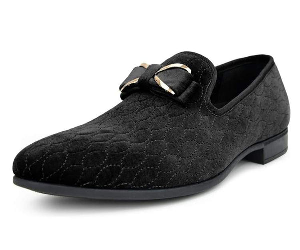 Amali Men's Faux Velvet Loafer with Decorative Stitching Adorned with a Gold Metal and Satin Bow Dress Shoe, Style Bowes