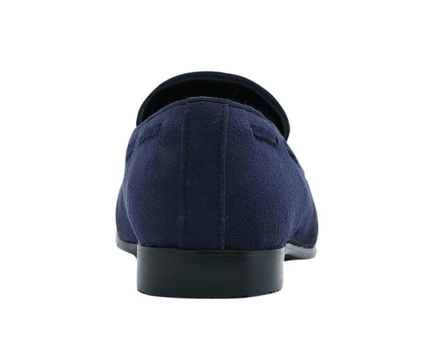 Amali Men's Metallic Lace Patterned Embossed Slip On Loafer with Matching Tip and Heal Dress Shoe, Style Saray