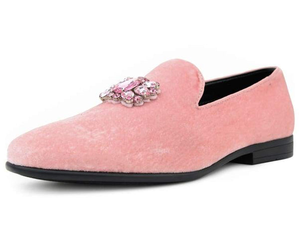 Amali Men's Faux Velvet Slip on Loafer with Jeweled Bit and Matching Piping Dress Shoe