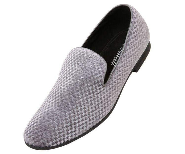 Hemingway Checkered Velvet Smoking Slipper Smoke Grey / 10