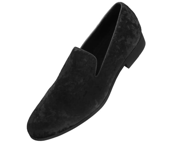 Amali Men's Sleek Smoking Slipper Loafer with a Crushed Velvet Design Dress Shoes, Style Hauser2