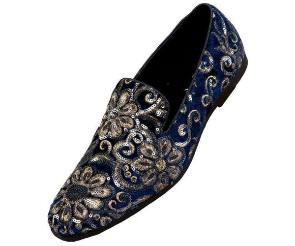 Fabian Sequin Embroidered Smoking Slipper Smoking Slippers Navy / 10