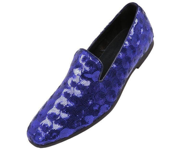 Swirl Sequin Circle Patterned Smoking Slipper Smoking Slippers Royal Blue / 10
