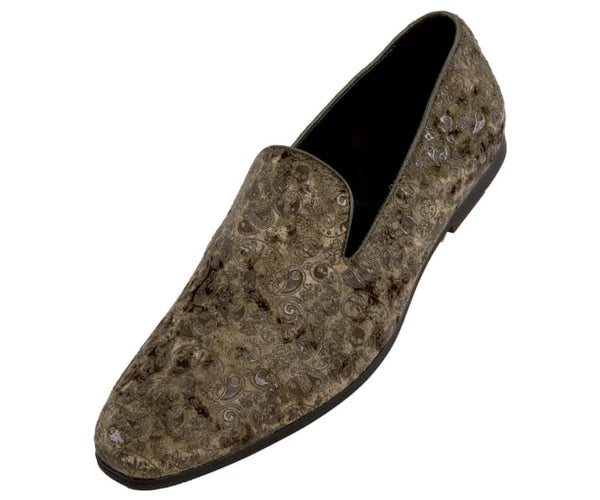 Metta Mens Paisley Patterned Smoking Slippers Smoking Slippers Olive / 10