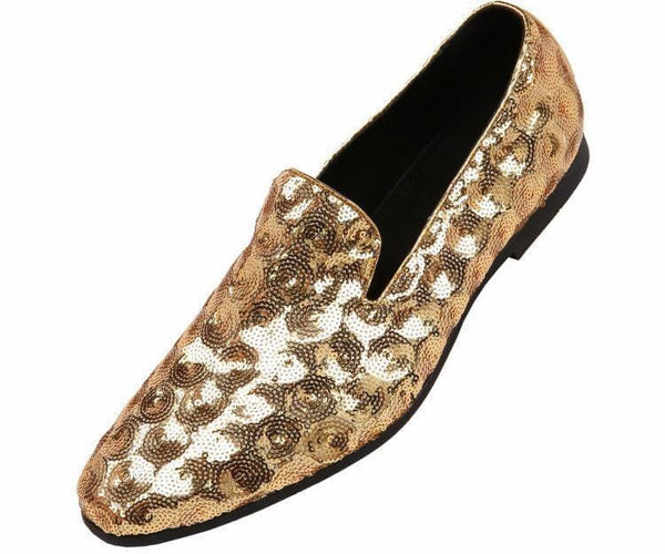 Swirl Sequin Circle Patterned Smoking Slipper Smoking Slippers Gold / 10