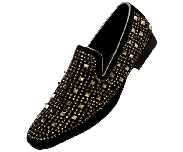 Cusco Studded Smoking Slipper Loafer Dress Shoes Smoking Slippers Black/gold / 10