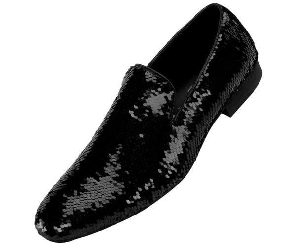 Flipp Smoking Slipper Reversible Metallic Sequins Loafer Dress Shoe Smoking Slippers Black/silver / 10