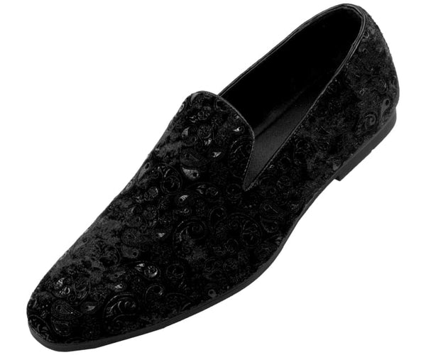 Metta Mens Paisley Patterned Smoking Slippers Smoking Slippers Black / 10