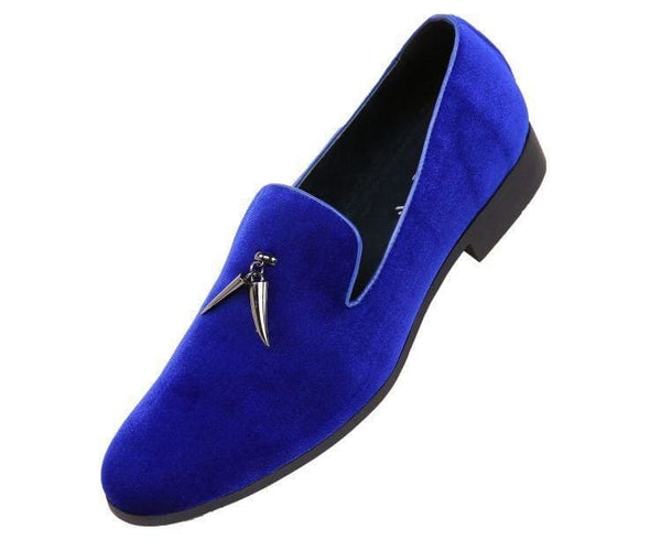 Heath Velvet Smoking Slipper With Metal Horn Tassel Smoking Slippers Royal Blue / 10
