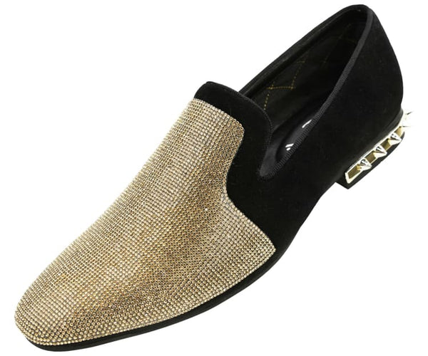 Amali Men's Rhinestone Embellished Faux Suede Smoking Slipper with Spiked Heel Dress Shoe, Style Adkin