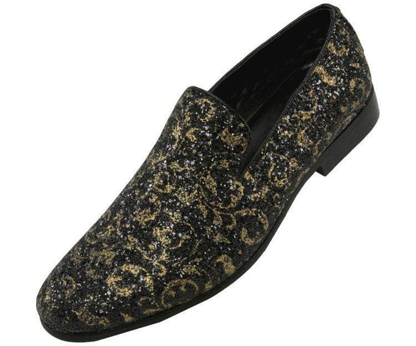 Erin Metallic Sparkle Paisley Glitter Tuxedo Slip On Smoking Slippers Gold / 10